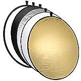 Mantona Faltreflektor (Diffusor) 5 in 1 (110 cm Durchmesser) gold, silber, schwarz, weiß
