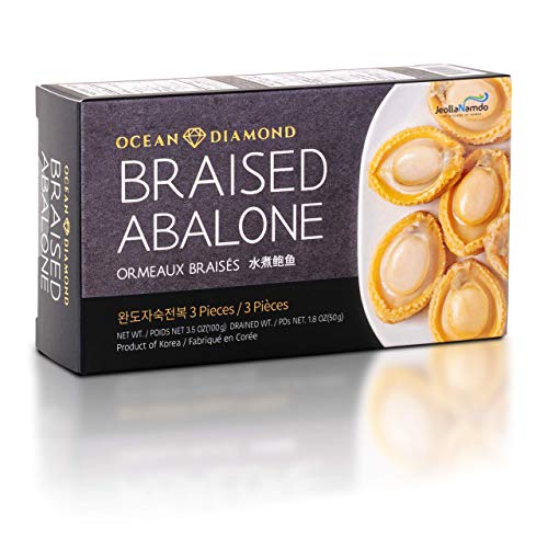 Premium Wando Abalone in Brine [ 3 Pieces ] 완도전복 Naturally Raised in Korean Sea, Rich in Vitamins + Protein, Lightly Braised, Ready to Eat by [OCEAN DIAMOND] 鲍鱼