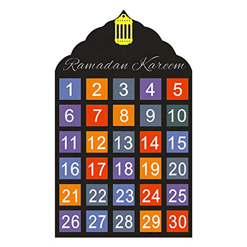 Ramadan Kalender, Ramadan Adventskalender Eid Mubarak Dekoration Hängender Countdown Kalender Mit 30 Kleinen Taschen Muslim Islamic Decorations Ornament Party Supplies für Kinder Geschenke (D)