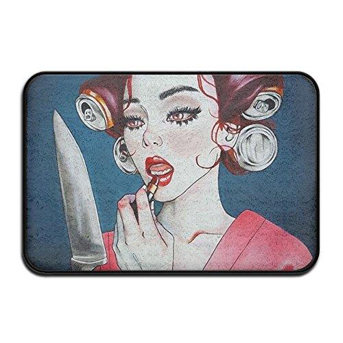 Smart Dry Memory Foam Bath Kitchen Mat for Bathroom - Knife Mirror Goth Gotik Gothic Women Girl Make Up Art Shower Spa Rug Entrance Door Mats Home Decor with Non Slip Backing - 17x24 Inch