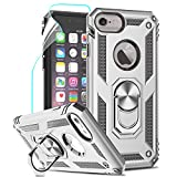 LeYi per Cover iPhone SE 2020, Custodia iPhone 6 / 6S / 7/8 con Pellicola, 360°Regolabile Anello Magnetica Supporto Ring Armor Bumper TPU Case Silicone Custodie Per Apple iPhone SE 2020 Argento