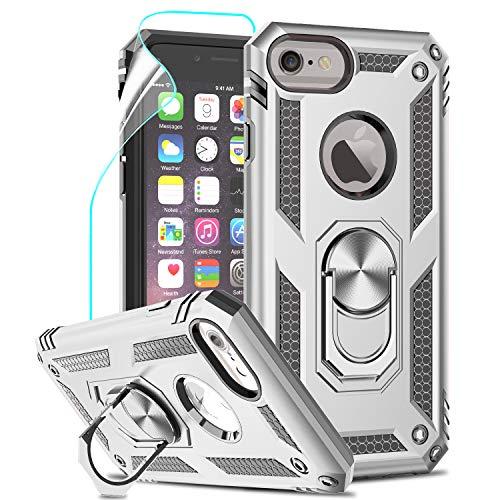 LeYi Funda iPhone SE 2020/6 / 6S / 7/8 Armor Carcasa con 360 Anillo iman Soporte Hard PC y Silicona TPU Bumper antigolpes Fundas Case para movil iPhone 7 con HD Protector de Pantalla,Plata