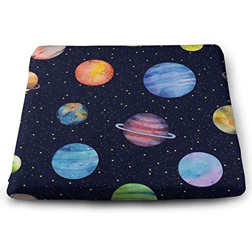 Coloridos planetas y estrellas cojín para silla Astronomía Cosmos Galaxy Space Universo Cojín antideslizante de espuma viscoelástica para silla de oficina en casa de 38 x 33,7 cm