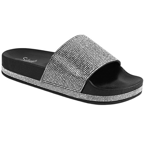 Women's Rhinestone Glitter Crystal Slide Footbed Platform Sandal Slippers (10, Black)