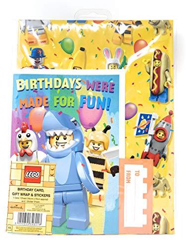 LEGO Geburtstagskarte, Geschenkpapier, Bogen 1 Bogen und Aufkleber 25532027 Hallmark