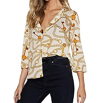 RAINED-Blouses for Women, Casual Short Sleeve Tops Printed Button T Shirts Loose Chiffon Blouse Office Work Tops