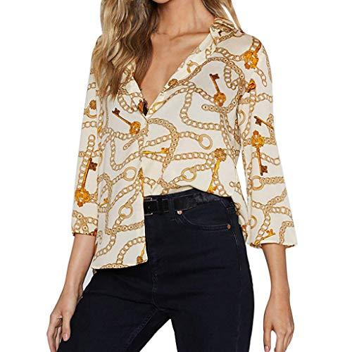 KEERADS-Vêtements Mode Femmes Casual Blouse Tops Col V Trois-Quarts Mousseline de Soie Chic Chaîne Impression T-Shirt Noir Rouge Beige Grand Taille S-XXXL(XX-Large,Beige)