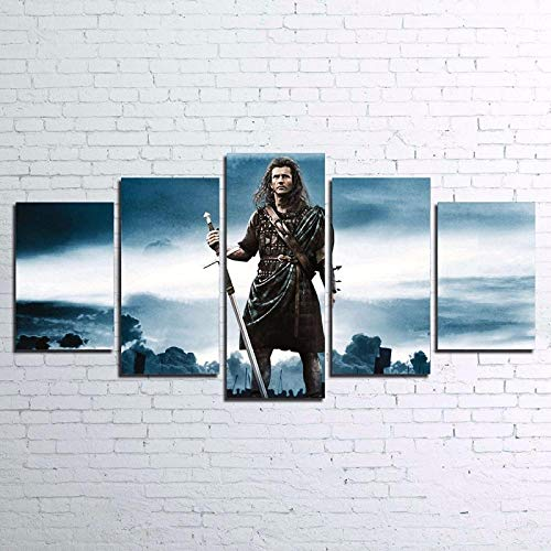 BXZGDJY Modern Canvas Wall Art Frame Living Room Home Decor HD Print Pictures 5 Piece Braveheart Painting Movie Characters Poster 200X100CM Cuadro sobre Lienzo - 5 Piezas - Impresión en Lienzo - Cua