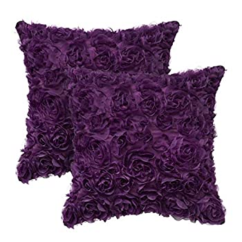 CaliTime Throw Pillow Cases Pack of 2 Solid 3D Stereo Chiffon Rose Flower Decorative Cushion Covers Shells for Couch Sofa Bedroom 16 X 16 Inches Purple