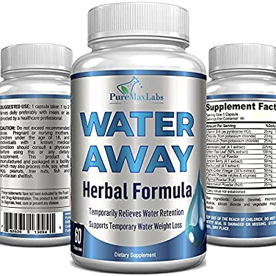 Water Away Gentle Herbal Diuretic - Natural Diuretic Water Pills - Relieve Bloating, Reduce Excess Water Weight with Dandelion Leaf, Green Tea, Detox Cleanse & Urinary Health. Non-GMO, 60 Capsules