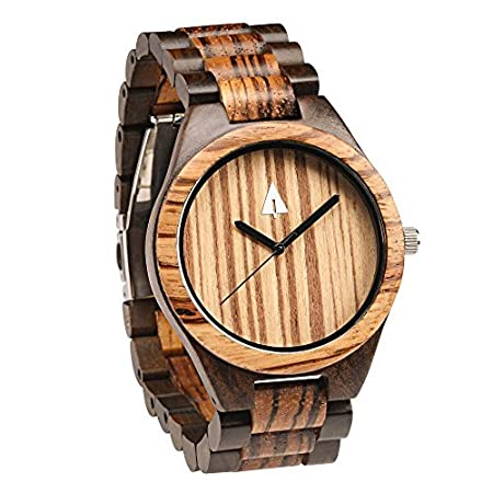 Men's Zebrawood and Ebony Wooden Watch with All Wood Strap Quartz Ana