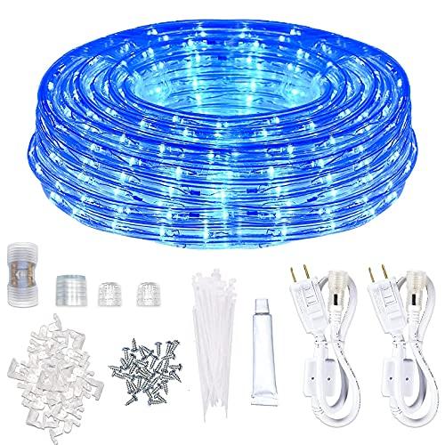 Rope Lights Outdoor Waterproof Blue LED SURNIE 50FT Indoor 110V Light Flexible...