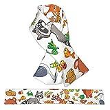 Animales pájaros estilo infantil dibujos animados franela cuello bufandas felpa doble cara suave envolturas ligeras para mujeres, hombres y adolescentes