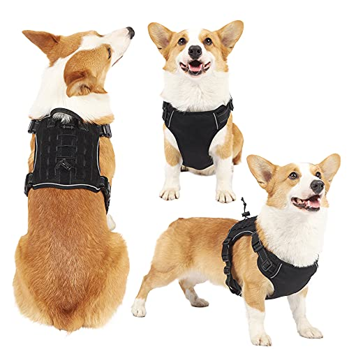 ARCICIDOU Easy to Put on & Take Off No Pull Dog Harness, Unique Colors Reflective Adjustable Vest, with a Training Handle + 2 Metal Leash Hooks+ 3 Snap Buckles +4 Slide Buckles