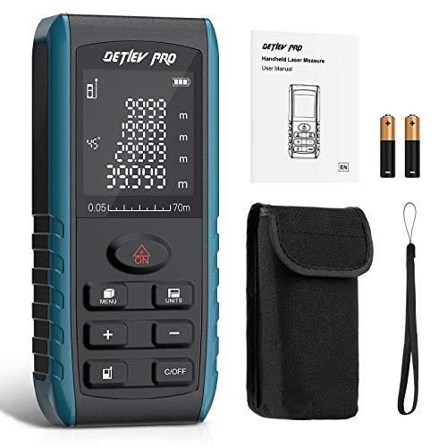 Detlev Pro 70m Telemetro Laser Misuratore Laser Metro Laser Distanziometro Sensore Angolare Elettronico con batteria, 99 Gruppi Dati, Display LCD Retroilluminat a 4 Righe IP54