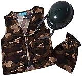 Kids Camo Army Vest & Helmet Costume Set Size Medium