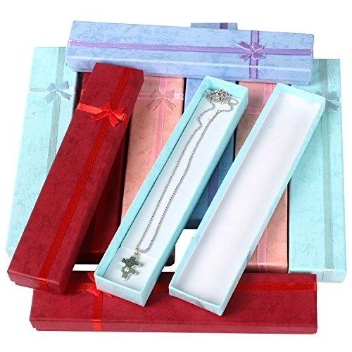 TRIXES 10 Elegante rechteckige Lange Luxus Geschenkboxen für Halsketten Schmuck Präsentation