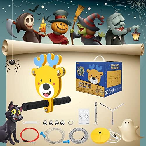 ETE ETMATE Kit de tyrolienne pour Enfants avec Frein à Ressort et siège en Acier Inoxydable pour Enfants et Adultes