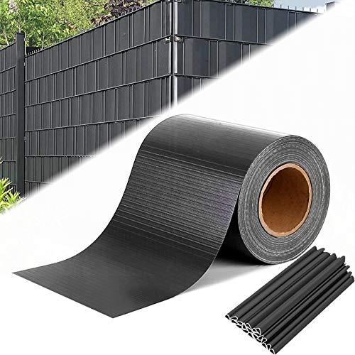 Aufun Antracita PVC Jardin Protección de Privacidad 65 m x 19 cm...