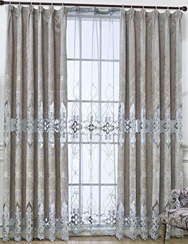 Lactraum Cortina de salón de lujo, vintage, clásica, con bordado de flores, opaca, con banda universal, fabricación especial