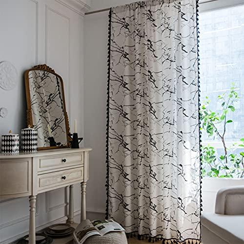 Tende da finestra semi-oscurante in marmo bianco 1 pezzo per soggiorno camera da letto, stile gancio 59 'W x 102' L (150x260 cm)