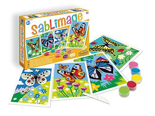 Sentosphere 3908813 Bastelset für Kinder, Sandbilder Schmetterlinge, Kreativset