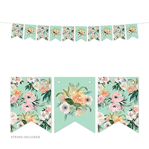 Andaz Press Peach Mint Green Floral Garden Party Wedding Collection, Blank Bridal Shower Invitations with Envelopes, 20-Pack