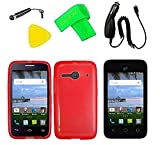 TPU Flexible Skin Cover Case Cell Phone Accessory + Car Charger + Screen Protector + Extreme Band + Stylus Pen + Pry Tool For Alcatel Onetouch A464BG (TPU Red)