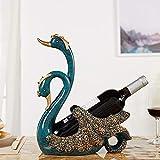 Asncnxdore Resina Creativa Retro Sencilla Artesanía Cisne Estante del Vino Vino A Casa Gabinete De La TV Decoración Armario 26 * 12 * 33 Cm