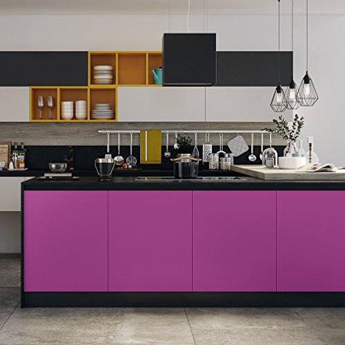 KINLO Adesivi Carta per mobili 0.6M x 5M PVC Impermeabile Adesivi mobili rinnovato mobili da Cucina Viola
