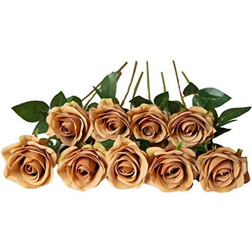 DuHouse 10 künstliche Rosen, künstliche Seidenblumen, künstliche Rosen, lange Stiel, Blumenstrauß für Arrangement, Hochzeit, Tafelaufsatz, Party, Zuhause, Küche, Dekoration (Kaffee)