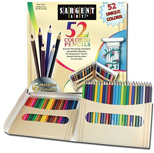 Lápis de colorir premium Sargent Art, pacote com 52 cores sortidas e metálicas, 22-7294