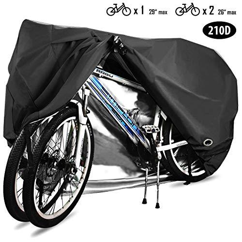 HCFGS Fahrrad-Abdeckung, 210D Oxford-Gewebe, wasserdicht, UV-Schutz, staubdicht, winddicht, für Mountainbikes, Rennräder, Elektrofahrräder, Dreirad, schwarz