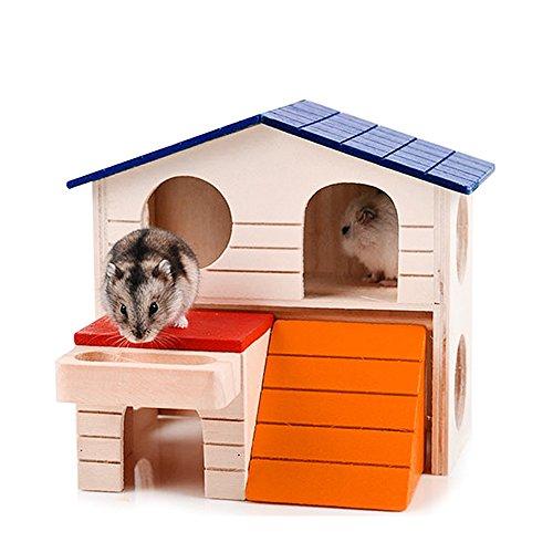 1Pieza mascotas pequeños animales madera hámster ratón jaula doble capa Villa dormir casa de habitación