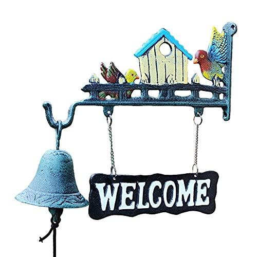 Guomipai Cara de Hierro Bell Bird Timbre de Regreso Retro Bienvenido Lista de Dos Caras Dorso Dorso Bienvenido Hierro Forjado Hand Bell Bell Wind timbime artesanía 12.8x3.9x13in Campanas Decorativas