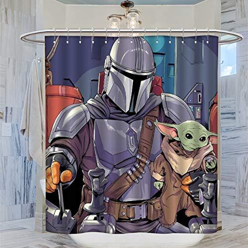 Wasserdichter Badezimmer-Vorhang, Baby Yoda & Mandalorianische Art, wasserdichter Duschvorhang, 183 x 183 cm
