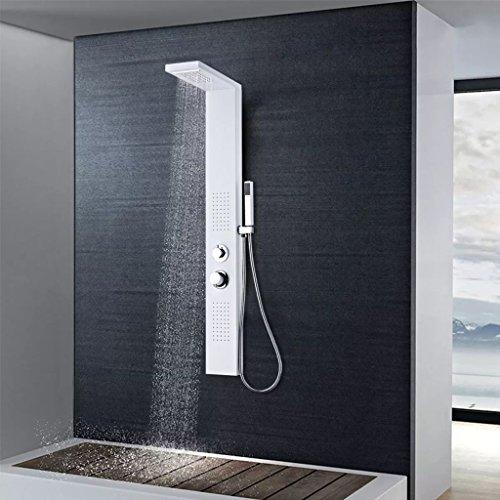 vidaXL Sistema de Panel de Ducha Multifuncional Moderno Aluminio Blanco Mate