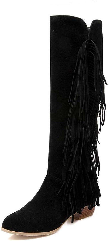 BalaMasa Womens Comfort Solid Fringed Urethane Boots ABL11325