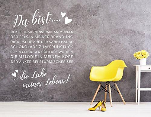 tjapalo® w-pkm297 Wandtattoo Schlafzimmer Wandtattoo Wohnzimmer sprüche modern du bist die Liebe meines Lebens (Höhe 80 cm x Breite 58 cm)