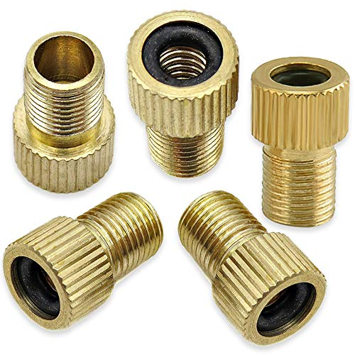 Mobi Lock Brass Presta Valve Adaptor (Pack of 5) - Convert Presta to Schrader for Bikes and Cars - Inflate Tire Using Standard Pump or Air Compressor