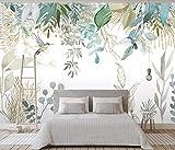 Pared Papel 3D Papel Pintado Murales Plantas Tropicales, Hojas, Flores Y Pájaros. Dormitorio Sala Tv Fondo Decoración de Pared decorativos Murales 350cmX250cm