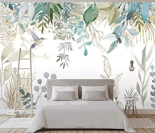 Pared Papel 3D Papel Pintado Murales Plantas Tropicales, Hojas, Flores Y Pájaros. Dormitorio Sala Tv Fondo Decoración de...