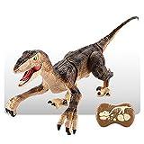 RC Elektronisches Simulations Dinosaurier Spielzeug, Ferngesteuerter Dinosaurier, Kinder Spielzeug, Ferngesteuertes Dino Roboterspielzeug LED Beleuchtung Brüllendes Gehen (Braun)