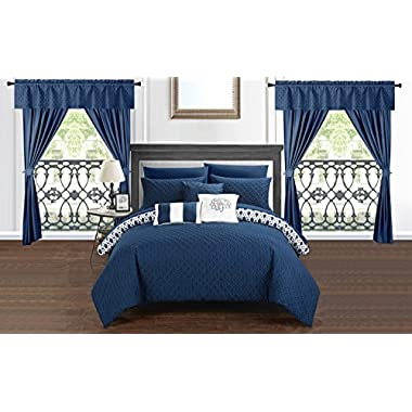 Chic Home Sigal 20 Piece Comforter Set Reversible Geometric Quilted Design Complete Bed in a Bag Bedding – Sheets Decorative Pillows Shams Window Treatments Curtains Included Queen Navy