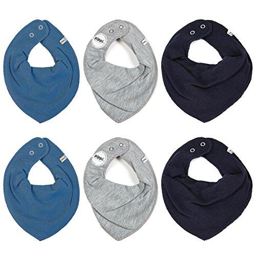 Pippi pippi 6er Pack Baby Jungen Halstuch, Farbe: Blau, Grau und Dunkelblau, One Size