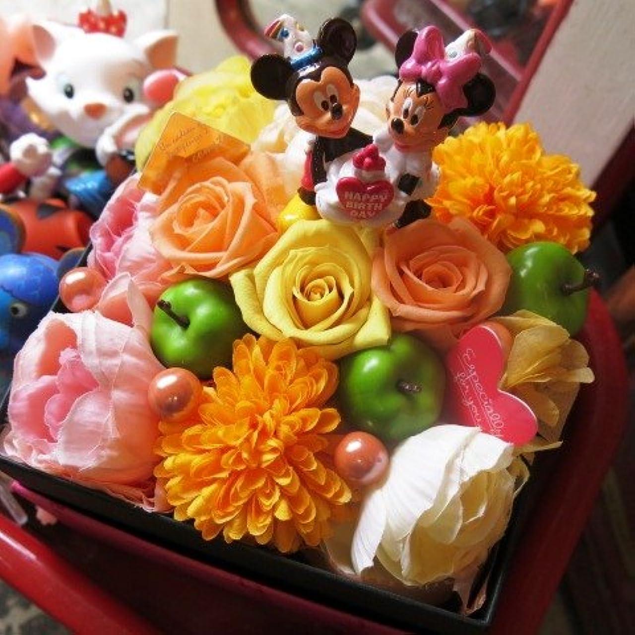 チェス晴れ予定誕生日プレゼント ディズニー フラワーギフト 花 バースデー ミッキー ミニー A プリザーブドフラワーフレンチbox入り イエローオレンジ系