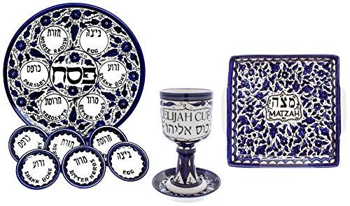 Traditioneller Sederteller mit Matze Teller für Pessach unt mit Kiddusch Elijah Becher (auch Passa(h) oder Pascha), Keramik