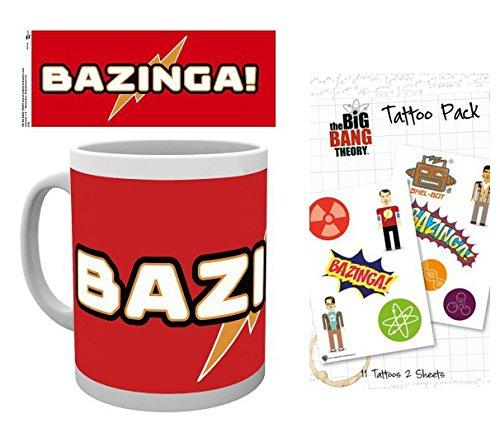 1art1 The Big Bang Theory, Bazinga Taza Foto (9x8 cm) Y 1 The Big Bang Theory, Set De Tattoos (17x10 cm)