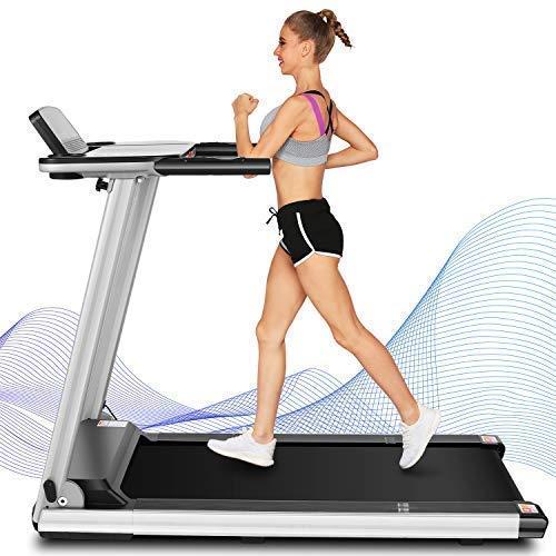 ANCHEER Cinta de correr AM0002, cinta de correr plegable con escritorio grande y altavoz Bluetooth, la mejor máquina de cinta de correr para caminar para gimnasio en casa, oficina, uso cardiovascular