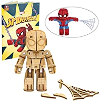 IncrediBots マーベル アベンジャーズ スパイダーマン モデルフィギュアキット - ポーズ可能な腕、脚、頭 - 組み立て、塗装、収集、木製おもちゃモデル - 8+インチ